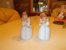 Set of 2 Homco Girl Angel Bell with Instruments Ornaments #8800