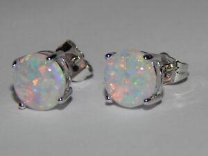 Beautiful White Fire Opal Earrings 7.4mm
