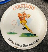 VINTAGE 1960s CARSTAIRS WHISKEY FOOTBALL 12 INCH TIN METAL SERVING TRAY,