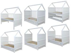Babybett Kinderbett Juniorbett Bett Haus 140x70cm mit Schublade weiss 0 bis 6 J.
