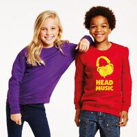 AWDis Hoods Kids Plain Crew Neck  Pullover Sweatshirt Childrens School PE Jumper