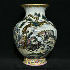 "11.2"" Qianlong Marked China Qing colour enamels Porcelain Bull Oxen Bottle Vase"
