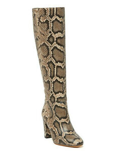 Vince Vita Knee High Taupe Snakeskin Snake Skin Leather Boots 8 *NEW* $550