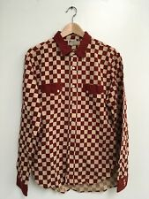 (MOVING SALE OBO) (LVC) Checkerboard Rodeo Shirt Size Med In Maroon & Ecru NWT