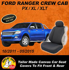 Canvas Car Seat Covers Ford PX Ranger Dual Cab  Front + Rear XL XLT 2011-05/2015