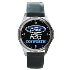 Sierra Rs Cosworth Logo Black Leather Band Watch