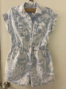 Country Road Pastel Blue Floral Play Jump Suit Size 12 Linen N Cotton