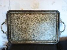 BRASS ENAMEL TRAY FLOWERS EXPLODING FROM AN URN DESIGN 3 CUPS 73CM X 39CM WIDE