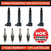 4x Genuine NGK Spark Plugs & 4x Ignition Coils for Toyota Regius RCH47R 3D Van