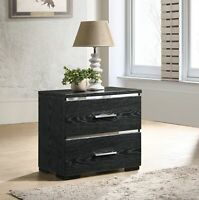 Contemporary 2-Drawer Nightstand Bed Side Table Lamp Photo Display Storage Black