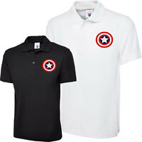 Embroidered Polo Shirt Captain America Shield Logo Avengers Superhero Marvel