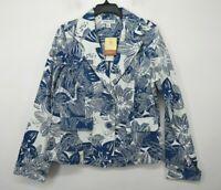 Coldwater Creek Womens Floral Notch Lapel 2-Button Flap Pocket Casual Blazer S