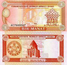 TURKMENISTAN 1 Manat Banknote World Paper Money UNC Currency Pick p1 Bill Note