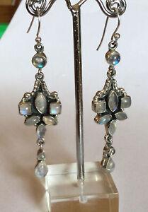 Elegant Rainbow Moonstone Solid Sterling Silver Drop Earrings
