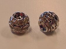 Brass Rhinestone Barrel Beads, Qty 6 - Platinum Color, Clear, about 10x9mm