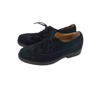 MENS GH BASS WINGTIP OXFORD SHOES SUEDE BLACK LEATHER Size 9.5 D
