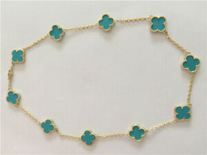 Authentic-Van Cleef & Arpels-18k Yellow Gold Turquoise Long Necklace