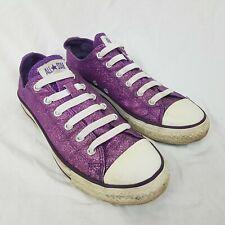 Converse Allstars Glitter Purple Pink Slip On Elastic Lace Size UK 4.5