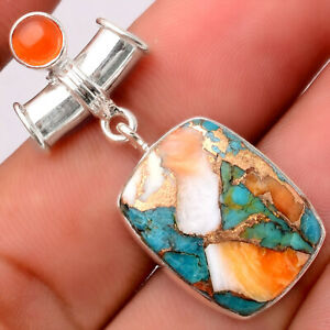 Spiny Oyster Turquoise and Carnelian 925 Silver Pendant Jewelry 0944