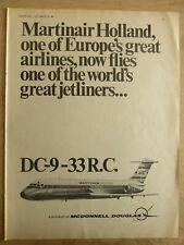 9/1968 PUB DOUGLAS DC-9-33 AIRLINER MARTINAIR HOLLAND AIRLINE ORIGINAL AD