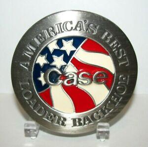 1991 Case Construction Loader Backhoe Tractor & US Flag America Best Belt Buckle