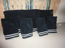 VINTAGE WINSTON THOMAS BLACK WHITE EMBROIDERED DOTS (PC) BATH & HAND TOWELS
