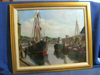 Rockport School Fishing Trawlers Vintage O/C Painting  (Listed) Nord Bowlen