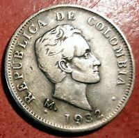 Colombia 50 Centavos 1932 Medellin  plata @ bella @