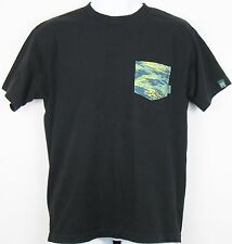 Black MIGHTY HEALTHY Camo Camouflage Pocket T-SHIRT w/ Sleeve Logo Men's M VGC