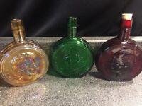 """3 Vintage Wheaton president 8"""" glass decanter bottles Lincoln Eisenhower Truman"""