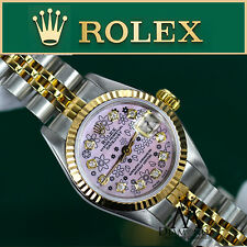 Rolex 26mm 18K Gold & Stainless Steel 2 Tone Datejust Pink Flower Diamond Face