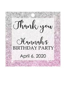 Birthday favor tags Sweet 16, Mis 15 Quinceanera party, pink silver glitter