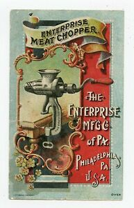 ENTERPRISE MEAT CHOPPER VICTORIAN TRADE CARD 1880'S  PHILADELPHIA, PENNSYLVANIA