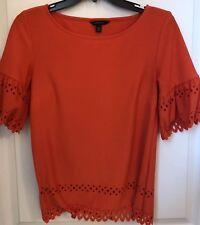 Banana Republic XS Orange Red Blouse Top Shirt Short Sleeve
