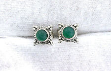 One Pair 4mm Round Green Agate Sterling Silver Cabochon Cab Gem Stud Earring