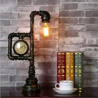 Vintage Desk Lamp Industrial Retro Iron Water Pipe Table Light Antique Metal
