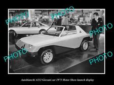 OLD LARGE HISTORIC PHOTO OF AUTOBIANCHI A112 GIOVANI 1973 MOTOR SHOW DISPLAY