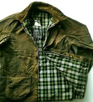 *HOT Men BARBOUR @ A50 MOORLAND WAXED Cotton PLAID LINED BROWN COAT JACKET C46 L