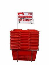 New 12 Standard Shopping Baskets - Plastic Handles - Metal Stand and Sign - Red