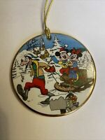 Schlitten Ride 'Micky Minnie Weihnachten Disney Grolier Porzellan Scheibe Deko
