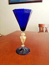 "CENEDESE & GASPARINI MURANO GLASS COBALT BLUE WINE GLASS GOBLET MINT SIGNED 9"" +"