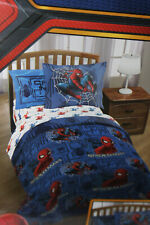 Spiderman Blue Twin Bed Set W/ Reversible Comforter + Bonus Tote