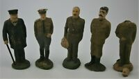 (5) Vintage WWII Allied Leaders & Generals Toy Figures, Churchill, Stalin,