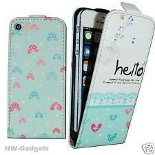 Stylish Leather Thin Flip Case Cover for Apple iPhone 4 4S 5 5S 5C - HELLO