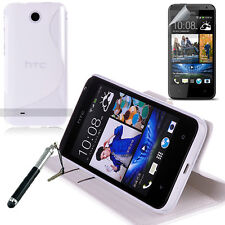 WHITE Wallet 4in1 Accessory Bundle Kit Case Cover For HTC Desire 300