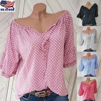 Womens Ladies Polka Dot Bandage Short Sleeve Loose Tops T-Shirt Blouse Plus Size