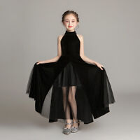 Flower Girl Tulle Velvet Dress Pageant Princess Wedding Bridesmaid Party Gown