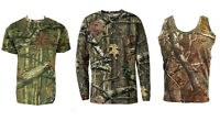 Mens Jungle Print Short & Long Sleeve T-Shirt or Vest Camo Regular to Plus Size