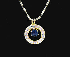 Monet DARK BLUE Rhinestone CIRCLE RING PENDANT Vintage NECKLACE Goldtone 18""