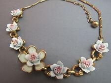 """VTG Enamel Flower Necklace Pink Rhinestones Metal Link Gold Plated 16.5"""" Long"""